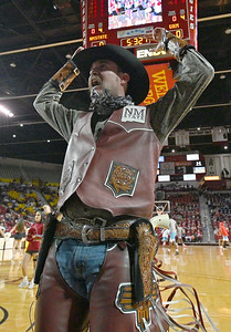 LAS CRUCES, NEW MEXICO - NOVEMBER 21, 2019:  New Mexico State Aggies mascot Pistol Pete performs before the team's game against the New Mexico Lobos at The Pan American Center on November 21, 2019 in Las Cruces, New Mexico. The Lobos defeated the Aggies 78-77.  (Photo by Sam Wasson/bleedCrimson.net)
