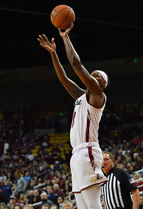 LAS CRUCES, NEW MEXICO - NOVEMBER 21, 2019:  C.J. Bobbitt #13 of the New Mexico State Aggies shoots against the New Mexico Lobos during their game at The Pan American Center on November 21, 2019 in Las Cruces, New Mexico. The Lobos defeated the Aggies 78-77.  (Photo by Sam Wasson/bleedCrimson.net)
