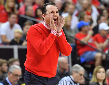 LAS VEGAS, NV - MARCH 10:  Head coach Paul Weir of the New Mexico Lobos shouts instructions to his team during the championship game of the Mountain West basketball tournament against the San Diego State Aztecs at the Thomas & Mack Center in Las Vegas, Nevada. San Diego State won 82-75.  (Photo by Sam Wasson)
