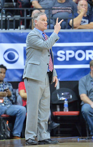 LAS VEGAS, NV - MARCH 10:  Head coach Brian Dutcher of the San Diego State Aztecs reacts to a foul call during the championship game of the Mountain West basketball tournament against the New Mexico Lobos at the Thomas & Mack Center in Las Vegas, Nevada. San Diego State won 82-75.  (Photo by Sam Wasson)