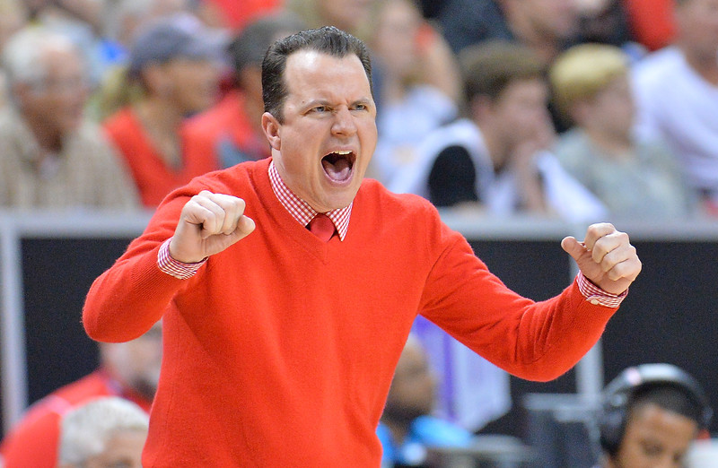LAS VEGAS, NV - MARCH 10:  Head coach Paul Weir of the New Mexico Lobos reacts to a play during the championship game of the Mountain West basketball tournament against the San Diego State Aztecs at the Thomas & Mack Center in Las Vegas, Nevada. San Diego State won 82-75.  (Photo by Sam Wasson)