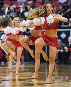 LAS VEGAS, NV - MARCH 10:  New Mexico Lobos cheerleaders perform during the championship game of the Mountain West basketball tournament against the San Diego State Aztecs at the Thomas & Mack Center in Las Vegas, Nevada. San Diego State won 82-75.  (Photo by Sam Wasson)
