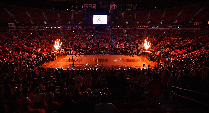 LAS VEGAS, NV - MARCH 10:  Pyrotechnics are shot off before the start of the championship game of the Mountain West basketball tournament between the New Mexico Lobos and the San Diego State Aztecs at the Thomas & Mack Center in Las Vegas, Nevada. San Diego State won 82-75.  (Photo by Sam Wasson)