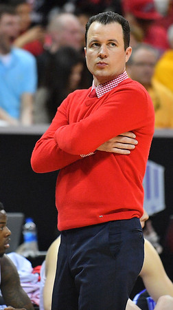 LAS VEGAS, NV - MARCH 10:  Head coach Paul Weir of the New Mexico Lobos looks on during the championship game of the Mountain West basketball tournament against the San Diego State Aztecs at the Thomas & Mack Center in Las Vegas, Nevada. San Diego State won 82-75.  (Photo by Sam Wasson)