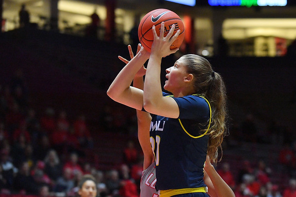 ALBUQUERQUE, NEW MEXICO - NOVEMBER 08, 2019:  Nina Radford #30 of the Northern Arizona Lumberjacks shoots against the New Mexico Lobos during their game at Dreamstyle Arena - The Pit on November 08, 2019 in Albuquerque, New Mexico.  (Photo by Sam Wasson for NAU Athletics)