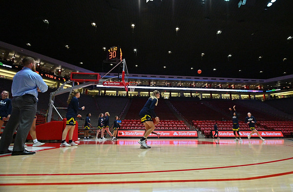 ALBUQUERQUE, NEW MEXICO - NOVEMBER 08, 2019:  The Northern Arizona Lumberjacks warm up before their game against the New Mexico Lobos at Dreamstyle Arena - The Pit on November 08, 2019 in Albuquerque, New Mexico.  (Photo by Sam Wasson for NAU Athletics)