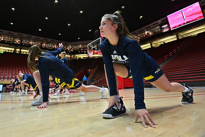 ALBUQUERQUE, NEW MEXICO - NOVEMBER 08, 2019:  Regan Schenck #1 of the Northern Arizona Lumberjacks stretches before her team's game against the New Mexico Lobos at Dreamstyle Arena - The Pit on November 08, 2019 in Albuquerque, New Mexico.  (Photo by Sam Wasson for NAU Athletics)