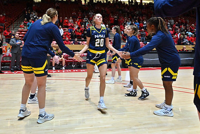 ALBUQUERQUE, NEW MEXICO - NOVEMBER 08, 2019:  Lauren Orndoff #20 of the Northern Arizona Lumberjacks is introduced before her team's game against the New Mexico Lobos at Dreamstyle Arena - The Pit on November 08, 2019 in Albuquerque, New Mexico.  (Photo by Sam Wasson for NAU Athletics)