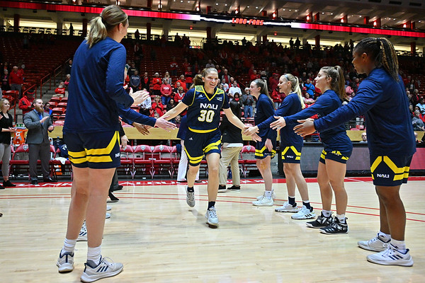 ALBUQUERQUE, NEW MEXICO - NOVEMBER 08, 2019:  Nina Radford #30 of the Northern Arizona Lumberjacks is introduced before her team's game against the New Mexico Lobos at Dreamstyle Arena - The Pit on November 08, 2019 in Albuquerque, New Mexico.  (Photo by Sam Wasson for NAU Athletics)