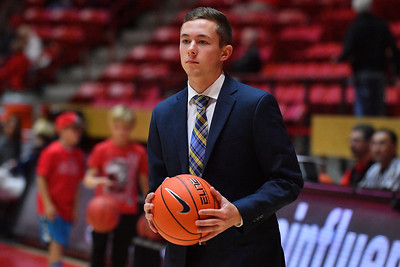 ALBUQUERQUE, NEW MEXICO - NOVEMBER 08, 2019:  Director of Basketball Operations Mike Thigpen of the Northern Arizona Lumberjacks stands on the court before his team's game against the New Mexico Lobos at Dreamstyle Arena - The Pit on November 08, 2019 in Albuquerque, New Mexico.  (Photo by Sam Wasson for NAU Athletics)