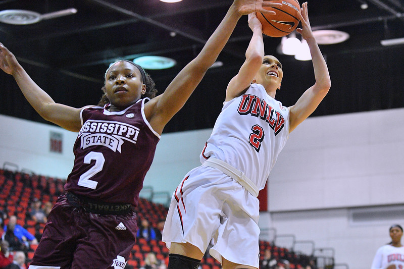 Dec 20, 2017; Las Vegas, NV, USA;  UNLV Rebels guard Brooke Johnson (2) shoots against Mississippi State Bulldogs guard Morgan William (2) during the Duel In The Desert at the Cox Pavilion in Las Vegas, Nevada.  Photo by Sam Wasson for UNLV Athletics