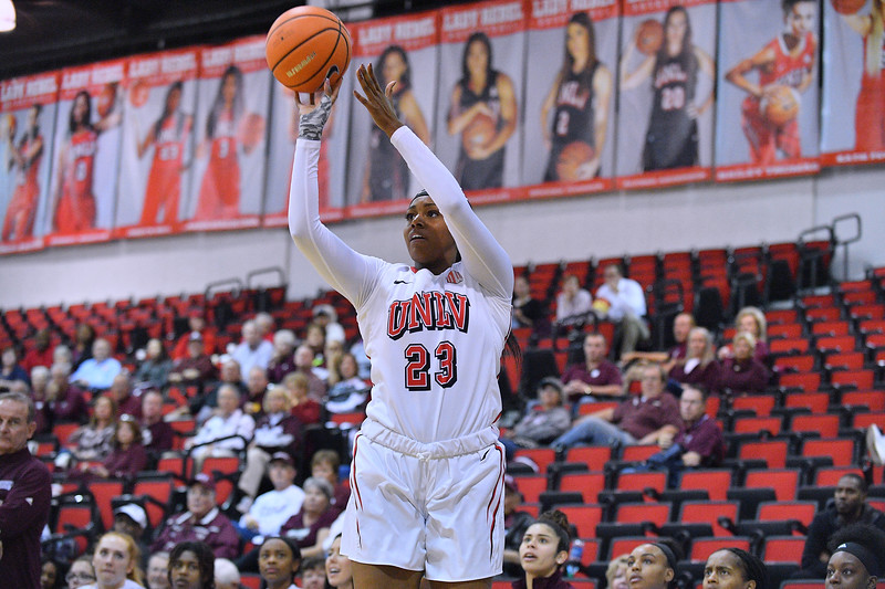 Dec 20, 2017; Las Vegas, NV, USA;  UNLV Rebels forward Jordyn Bell (23) shoots against the Mississippi State Bulldogs during the Duel In The Desert at the Cox Pavilion in Las Vegas, Nevada.  Photo by Sam Wasson for UNLV Athletics