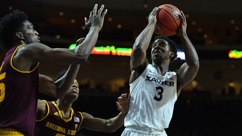 LAS VEGAS, NV - NOVEMBER 24:  Quentin Goodin #3 of the Xavier Musketeers shoots against the Arizona State Sun Devils during the championship game of the Las Vegas Invitational at the Orleans Arena on November 24, 2017 in Las Vegas, Nevada.  (Photo by Sam Wasson)