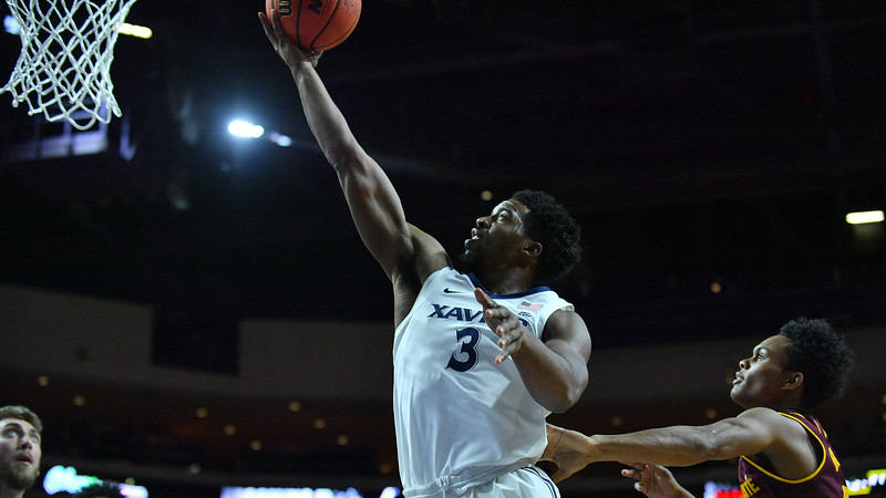 LAS VEGAS, NV - NOVEMBER 24:  Quentin Goodin #3 of the Xavier Musketeers scores on a layup against the Arizona State Sun Devils during the championship game of the Las Vegas Invitational at the Orleans Arena on November 24, 2017 in Las Vegas, Nevada.  (Photo by Sam Wasson)