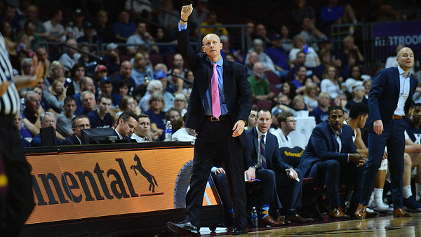 LAS VEGAS, NV - NOVEMBER 24:  Head coach Chris Mack of the Xavier Musketeers signals a play to his team during during the championship game of the Las Vegas Invitational against the Arizona State Sun Devils at the Orleans Arena on November 24, 2017 in Las Vegas, Nevada.  (Photo by Sam Wasson)