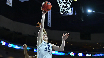 LAS VEGAS, NV - NOVEMBER 24:  J.P. Macura #55 of the Xavier Musketeers scores on a layup against the Arizona State Sun Devils during the championship game of the Las Vegas Invitational at the Orleans Arena on November 24, 2017 in Las Vegas, Nevada.  (Photo by Sam Wasson)