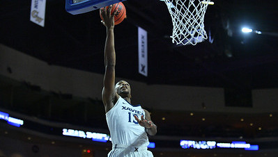 LAS VEGAS, NV - NOVEMBER 24:  Naji Marshall #13 of the Xavier Musketeers scores on a layup against the Arizona State Sun Devils during the championship game of the Las Vegas Invitational at the Orleans Arena on November 24, 2017 in Las Vegas, Nevada.  (Photo by Sam Wasson)