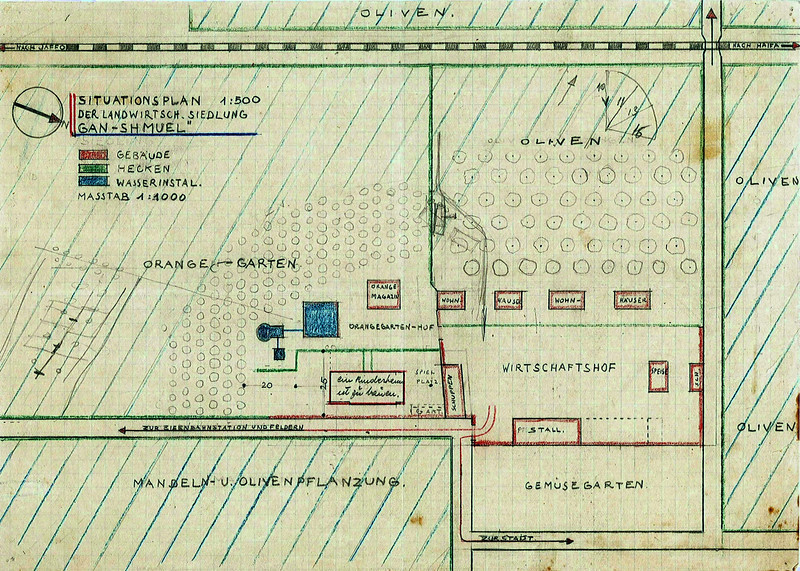 Site Plan of Kibbutz Gan Shmuel, 1930