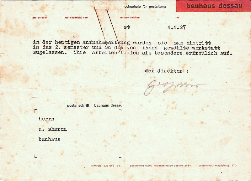 Certificate Signed by Gropius