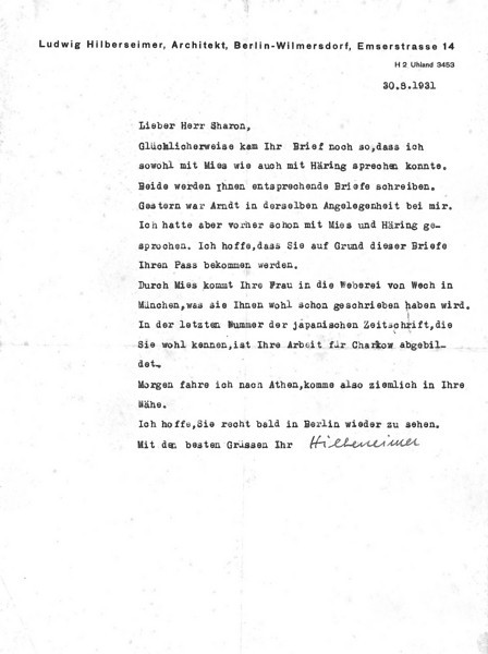 Letter from Ludwig Hilberseimer