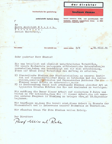Letter from Mies Van Der Rohe