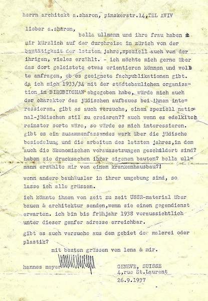 Letter from Hannes Meyer