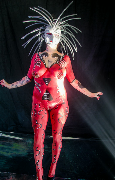 Harlequin body paint with bird mask, shot at the Studio 5 Graphics studio downtown seattle. Fun body paint to do, all images copyright Studio5Graphics