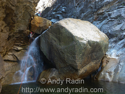 Tenaya Canyon in Yosemite National Park. One of the dramatic rappels in the inner gorge.