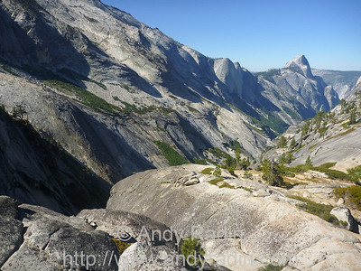 Tenaya Canyon in Yosemite National Park.  Hiking in from Olmstead Point, with a view of Half Dome
