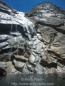 Tenaya Canyon in Yosemite National Park. Cove basking in the not-too-chilly water.