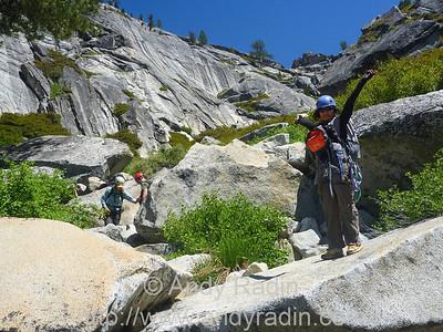 Tenaya Canyon in Yosemite National Park. Having fun!