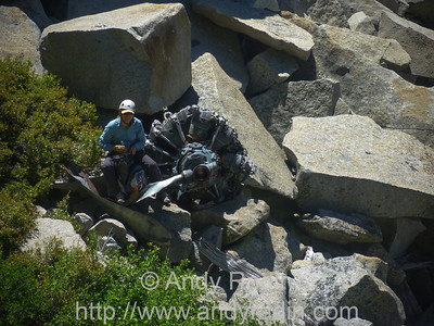 Tenaya Canyon in Yosemite National Park. Ancient crashed airplane engine.  20 cylinders in two ranks.
