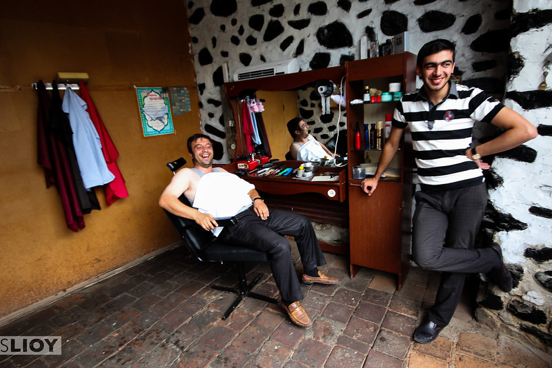 A visit to the local barber in the little town of Sheki.