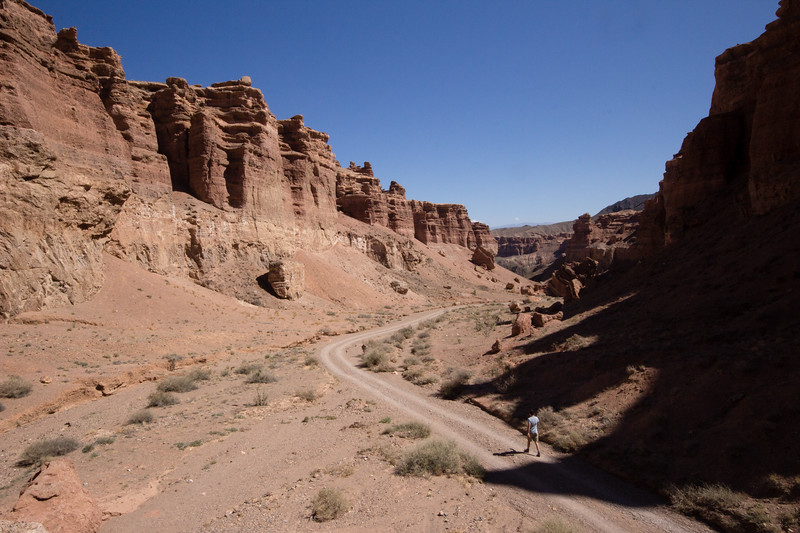 Hiking into the Charyn Canyon.