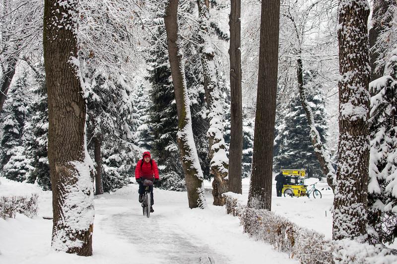 Winter in Almaty's PAnfilov Park.