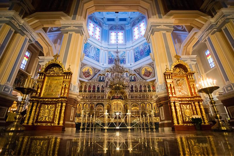 Interior of Zenkov Cathedral inside Almaty's Panfilov Park.
