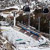 The Shymbulak Cable Car as it passes over Medeo Ice Skating Rink in Almaty, Kazakhstan.