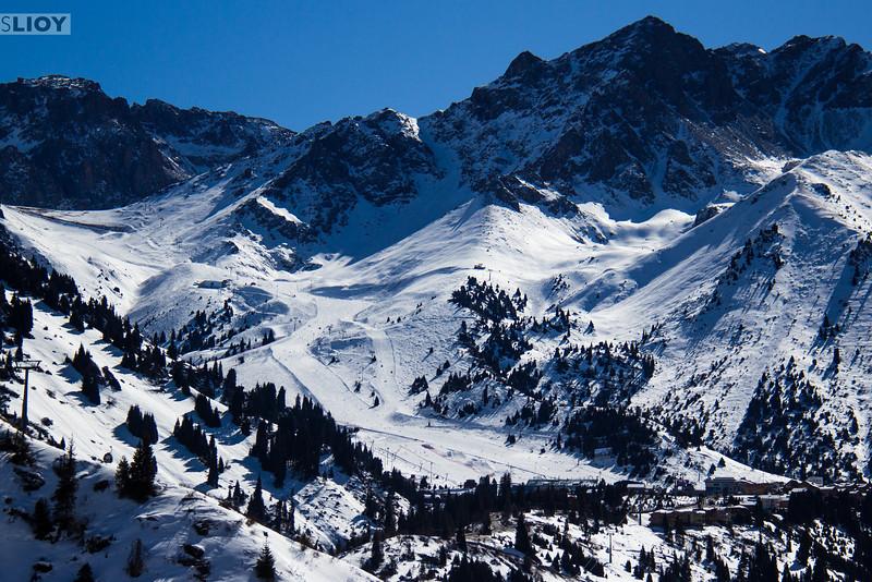 Overview of the Shymbulak Ski Resort in Almaty, Kazakhstan.