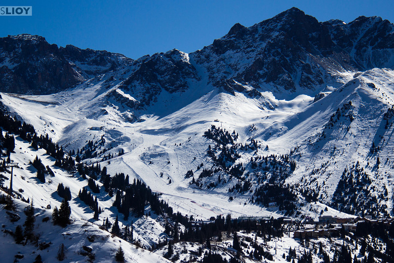 Wide-angle view of the Shymbulak Ski Resort in Almaty, Kazakhstan.