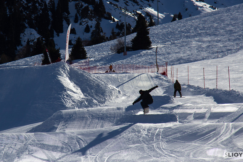 Snowboarding in the Shymbulak Snow Park.