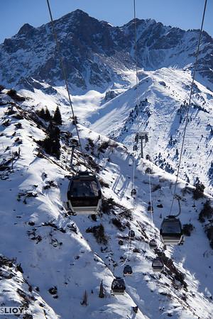 Cables cars at the Shymbulak Ski Resort.