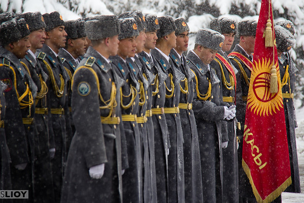 Kyrgyz soldiers in dress uniform on Defenders of the Fatherland Day