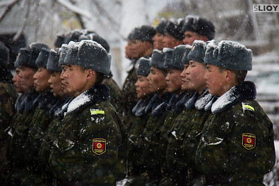kyrgyz soldiers in snow