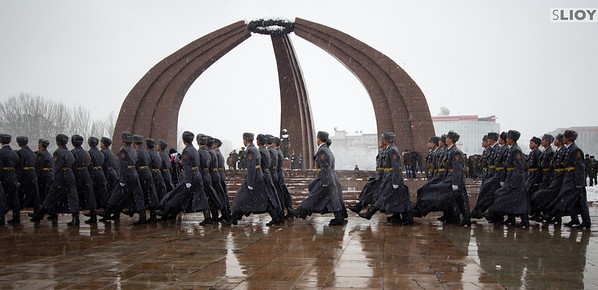 soldiers marching in kyrgyzstan