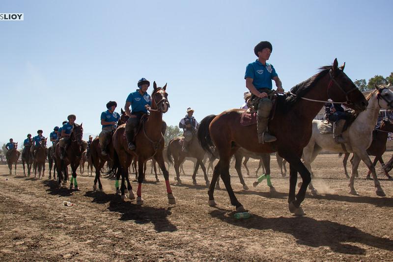 buzkashi riders entering stadium
