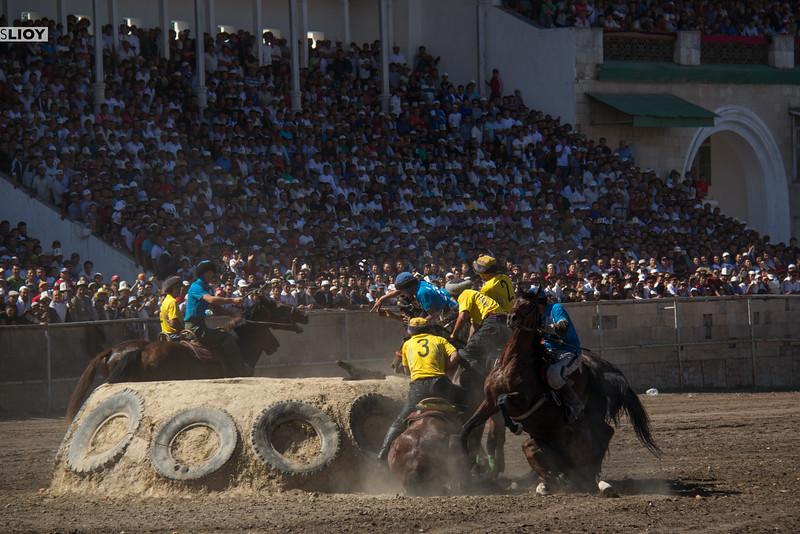 horse falling during buzkashi
