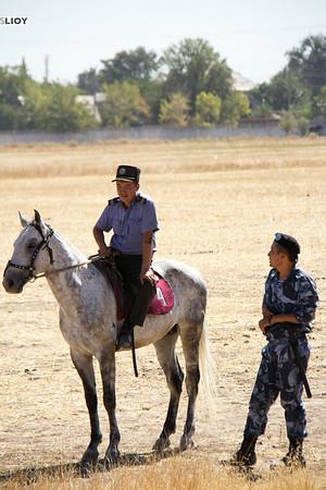 mounted police at the bishkek hippodrome