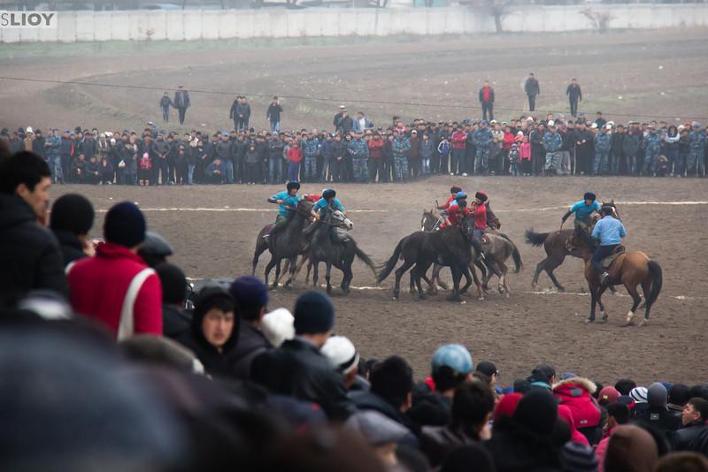 Crowds in Bishkek watching the Nooruz horse games.
