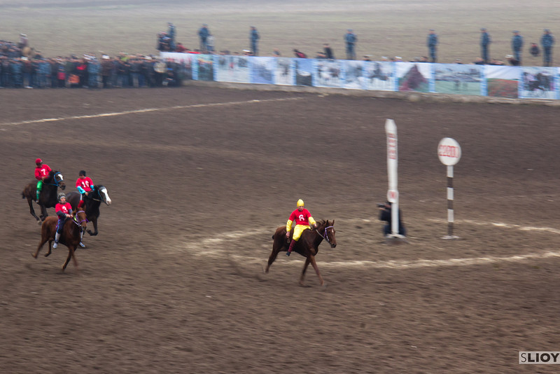 Horse races at Bishkek's Ak-Kula Hippodrome during the Nooruz holiday.
