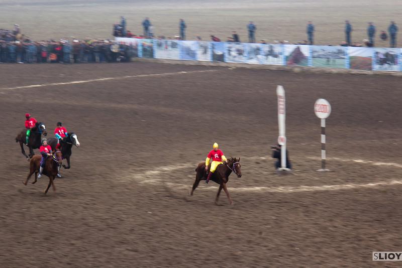 Horse races at Bishkek's Ak-Kula Hippodrome during the Nooruz holiday.